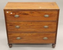 A 19th century mahogany chest of drawers. 102 cm wide, 91.5 cm high, 43.5 cm deep.