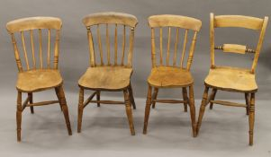 Four various Victorian elm seated kitchen chairs.
