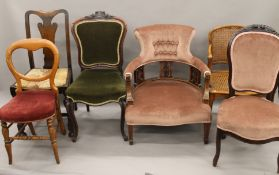 A quantity of various Victorian and later chairs
