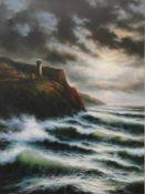 JUNE NELSON, The Lighthouse, oil on canvas, framed. 74.5 x 100 cm.