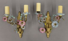 A pair of vintage ceramic and glass mounted brass wall lights. Each approximately 30 cm high.