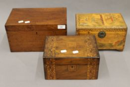 Two Victorian walnut boxes, a Chinese box and another. The largest 31.5 cm wide.