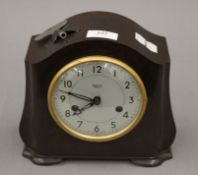 A Smiths bakelite mantle clock. 19 cm high.