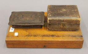 A cutlery box, a jewellery box and a tin. The former 37.5 cm wide.