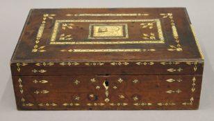 An 18th/19th century ivory inlaid walnut box. 32 cm wide.