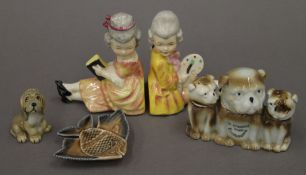 A quantity of various ceramics including: a bulldog cruet,