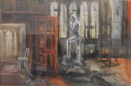 Artist's Studio, gouache, unsigned, framed and glazed. 53 x 35 cm.