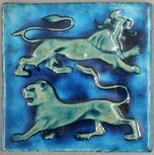 WILLIAM DE MORGAN pottery tile, decorated with two lions. 15.5 x 15.5 cm.