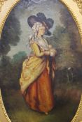 Oil on board, a full length Portrait of a Lady, framed; together with a gilt framed wall glass.