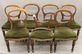 Seven various Victorian mahogany balloon back chairs.
