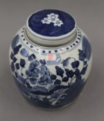 A Chinese blue and white porcelain ginger jar. 22.5 cm high.
