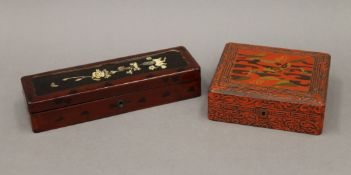 Two early 20th century Japanese lacquered boxes. The largest 28 cm wide.