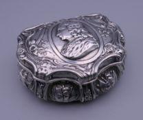 A 19th century Continental silver snuff box. 8.5 cm wide.