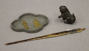 A 19th century gilded bronze Japanese hair ornament,