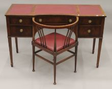 A reproduction mahogany desk and a corner chair. The former 122 cm wide.