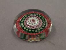 A glass paperweight.