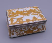 An 18th century French silver mounted German enamel box, in the manner of Pierre Fromery,