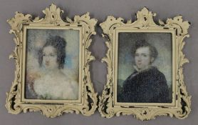 A pair of framed miniatures. 10.5 cm wide.