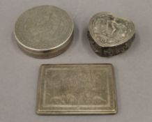 An Indian silver cigarette case, an Egyptian silver box and an unmarked Indian silver box.
