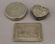 An Indian silver cigarette case, an Egyptian silver box and an unmarked Indian silver box.