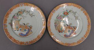 A pair of 19th century Japanese porcelain plates. 21 cm diameter.