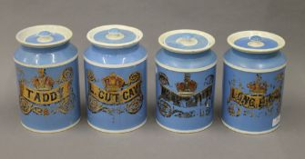 A set of four Victorian tobacco jars. The two largest 24 cm high.