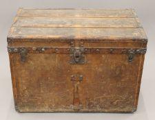 A vintage Louis Vuitton trunk. 75.5 cm wide.