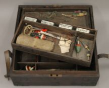 A Victorian pine fisherman's box with various contents. 50.5 cm wide.