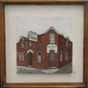 The Peacock Pub, painted relief, signed A J THORN, housed in box frame. 37.5 x 37.5 cm overall.