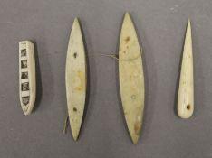 A quantity of Eskimo/Maritime boat fids, etc. The largest 8 cm long.