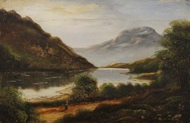 Two Victorian oils on canvas and a watercolour of Loch Fad. The latter 27 x 17.5 cm.
