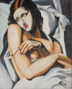 After TAMARA DE LEMPICKA, The Reveal, oil on canvas. 24 x 30 cm.