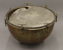 A brass kettle drum. 65 cm diameter.
