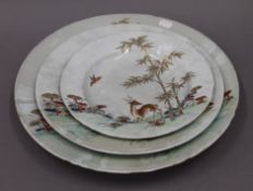 Three 18th century Chinese dishes. The largest 38 cm diameter.