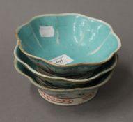 Three Chinese porcelain bowls. Each 15.5 cm diameter.