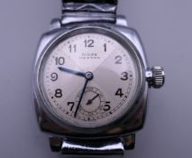 A gentleman's Rolex Oyster cushion strapped case wristwatch, with bow tie sector dial,