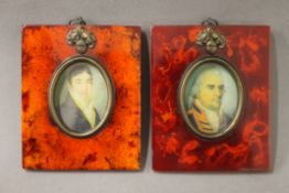 Two framed miniatures. 9.5 cm wide.