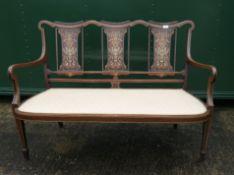 An Edwardian inlaid mahogany settee. 126 cm wide.
