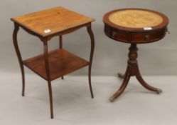 A Victorian side table and a small reproduction drum table. The former 44.5 cm wide.