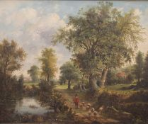 After MEINDERT HOBBEMA (1638-1709) Dutch, Shepherd and Sheep on a Country Path, oil on canvas,