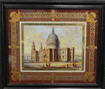 19TH CENTURY SCHOOL, St Pauls London, gouache with a verre eglomise border, framed and glazed. 46.