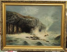 Fingal's Cave, oil, signed E L ROYLE, framed. 74 x 54 cm.
