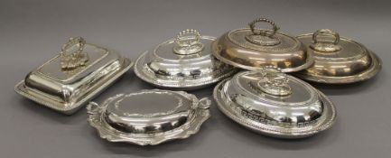 A quantity of plated entree dishes