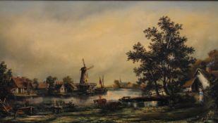 K DOUGLAS (20th century), Dutch Scene, oil on canvas, framed. 88.5 x 50 cm.