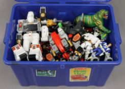 A box of Power Rangers toys from the 1990s,