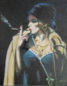 Woman Smoking, oil on board, indistinctly signed.