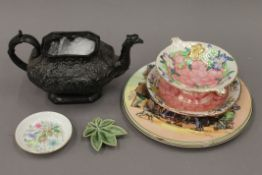 Two pieces of Maling Lustre ware and two Royal Doulton wall plates,