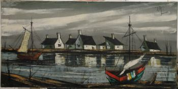 A 20th century oil on canvas, Fishing Boats in a Harbour, indistinctly signed. 80 x 40 cm.