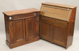 A Victorian mahogany chiffonier base and an Edwardian walnut bureau. The former 90.