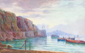 ITALIAN SCHOOL (19th/20th century), Bay of Naples with Vesuvius Beyond, oil on board,